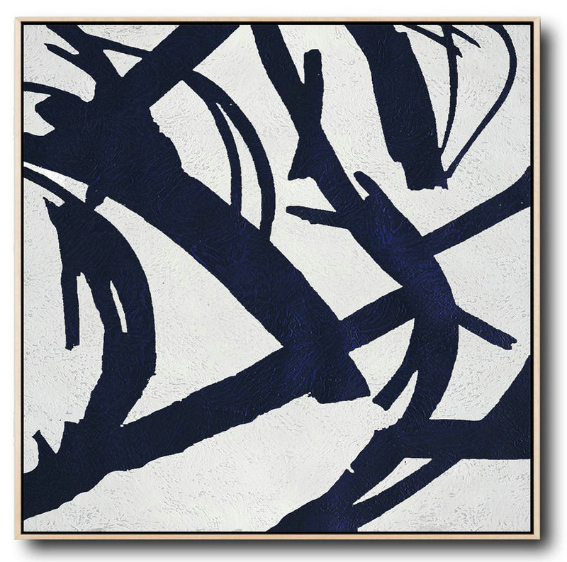 Handmade Painting Large Abstract Art,Minimalist Navy Blue And White Painting,Xl Large Canvas Art #Y3M2