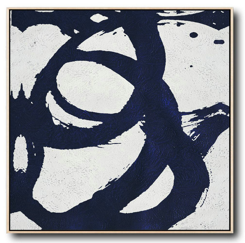 Extra Large Acrylic Painting On Canvas,Minimalist Navy Blue And White Painting,Hand-Painted Contemporary Art #M1P9