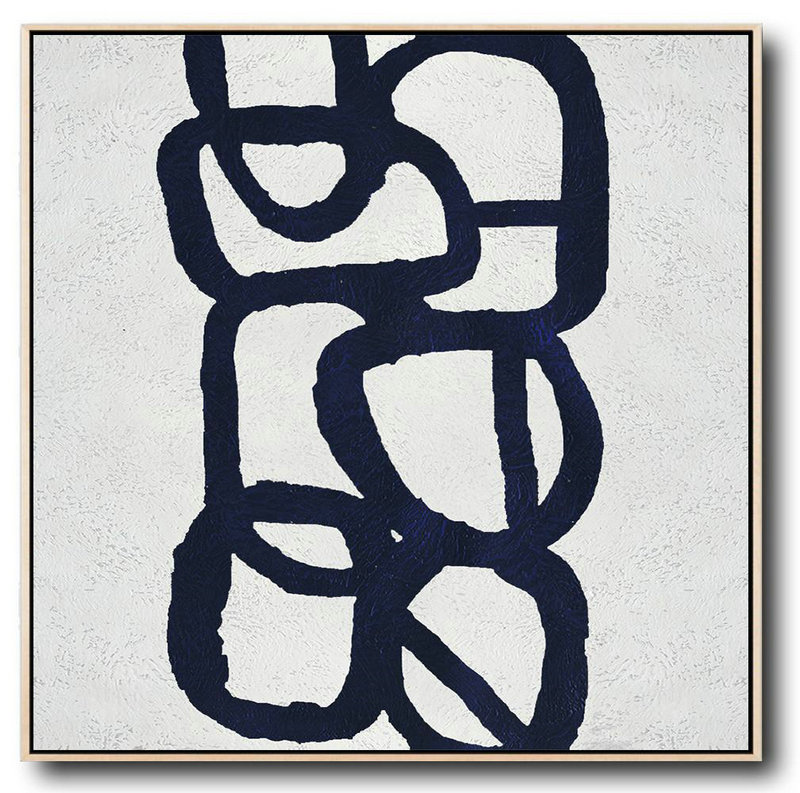 Extra Large Painting,Minimalist Navy Blue And White Painting,Modern Art Abstract Painting #S4C3