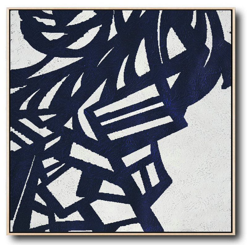 Hand Made Abstract Art,Minimalist Navy Blue And White Painting,Hand Painted Abstract Art #A2G1
