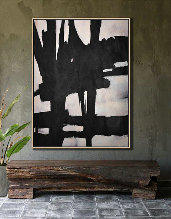 Abstract Painting Extra Large Canvas Art,Hand-Painted Black And White Minimal Painting On Canvas,Size Extra Large Abstract Art #H1Z8