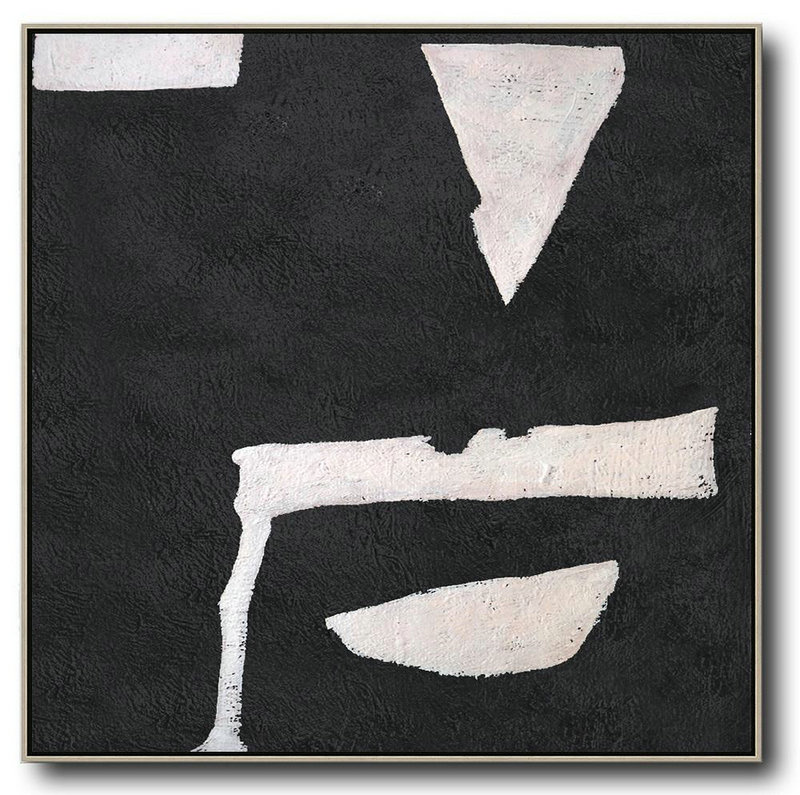 Huge Abstract Painting On Canvas,Hand-Painted Oversized Minimal Black And White Painting,Xl Large Canvas Art #O1X2