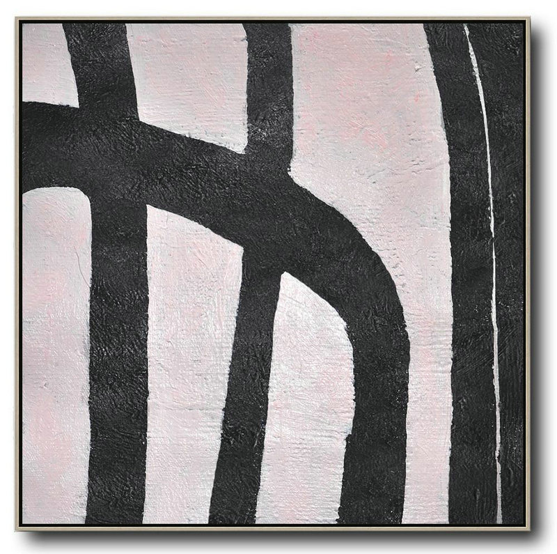 Abstract Painting Extra Large Canvas Art,Hand-Painted Oversized Minimal Black And White Painting,Abstract Art Decor,Contemporary Painting #A9Z3