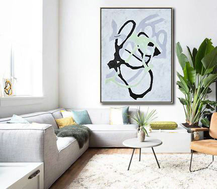 Extra Large Abstract Painting On Canvas,Hand-Painted Black And White Minimal Painting On Canvas,Textured Painting Canvas Art #Y0O7