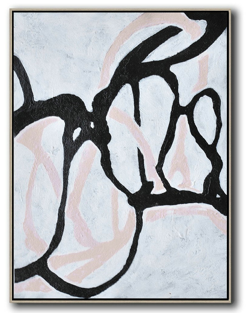 Original Artwork Extra Large Abstract Painting,Hand-Painted Black And White Minimal Painting On Canvas,Abstract Painting Modern Art #C1C0