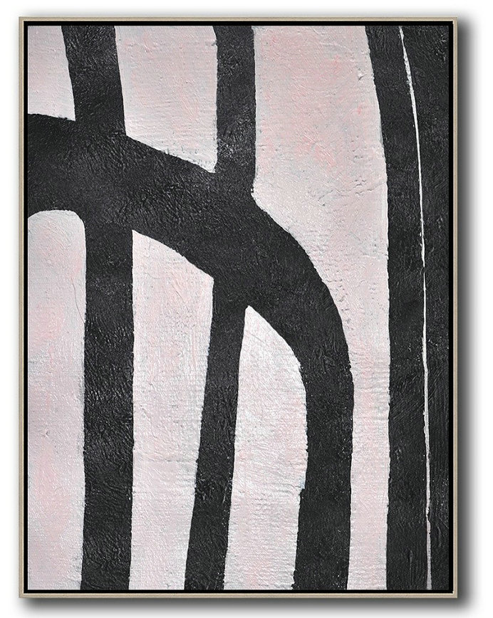Oversized Canvas Art On Canvas,Hand-Painted Black And White Minimal Painting On Canvas,Hand Paint Large Art #B5B8