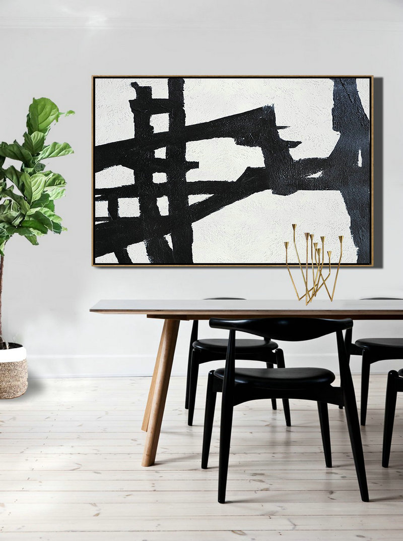 Abstract Art Decor,Contemporary Painting,Hand Painted Oversized Horizontal Minimal Art On Canvas, Black And White Minimalist Painting,Decorating A Big Living Room #N0C0