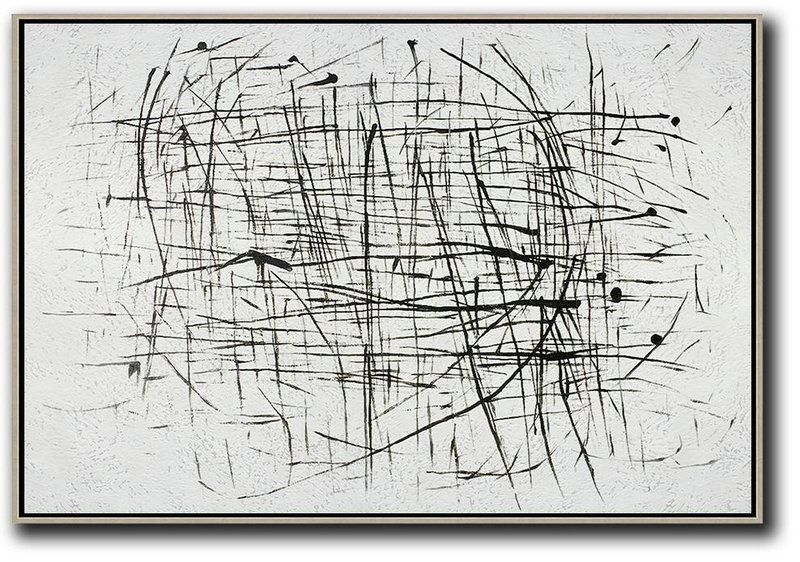 Abstract Painting Modern Art,Oversized Horizontal Minimal Art On Canvas,Large Living Room Decor #K0B9