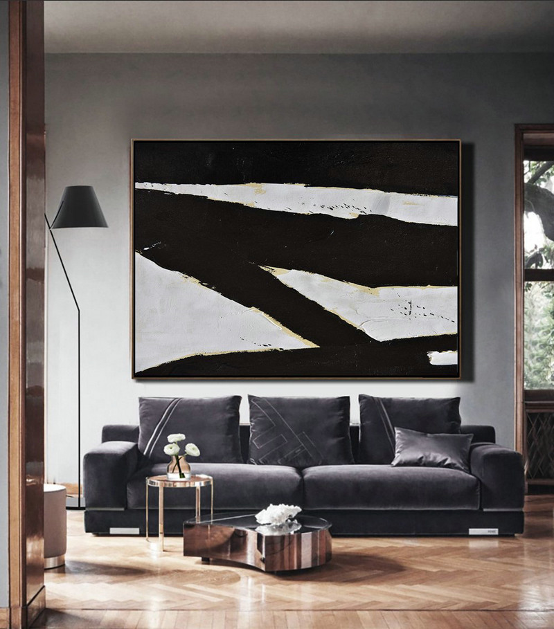 Abstract Art Decor Large Canvas Painting,Horizontal Palette Knife Minimal Canvas Art Painting Black White Beige,Artwork For Sale #F0Q8
