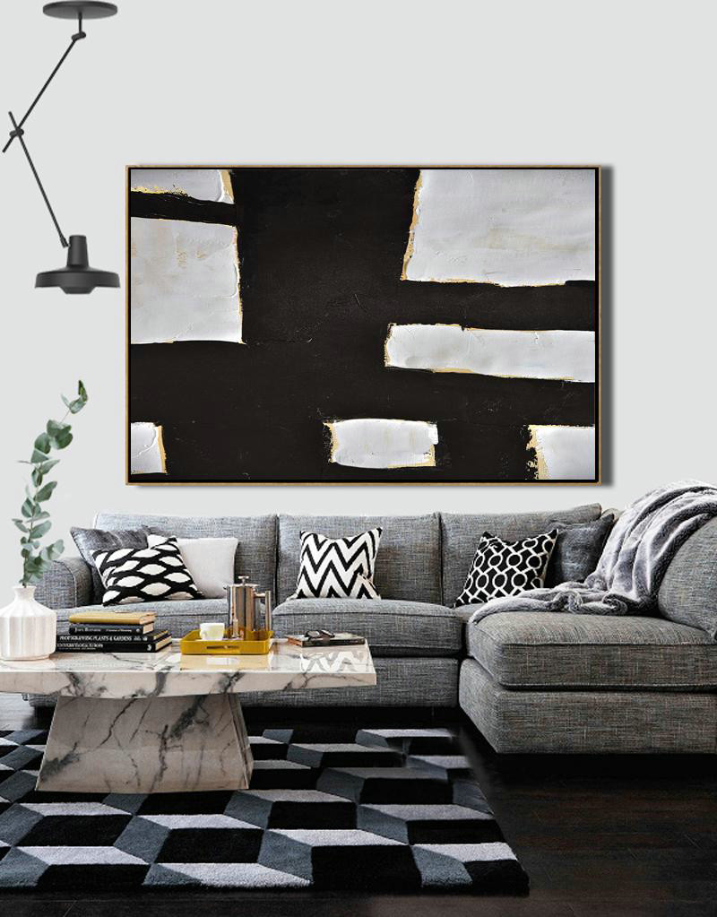 Abstract Art Decor,Contemporary Painting,Horizontal Palette Knife Minimal Canvas Art Painting Black White Beige,Hand Paint Large Art #S3A2