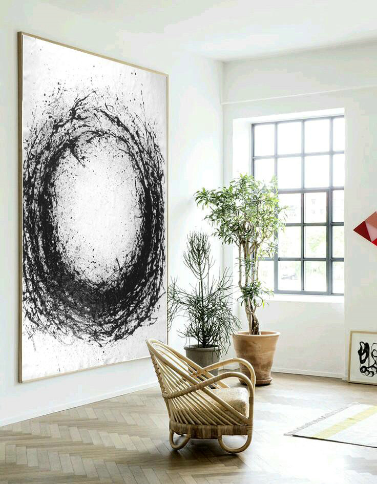 Huge Abstract Painting On Canvas,Geometric Art Black And White Minimal Painting On Canvas,Abstract Painting On Canvas #T9R0