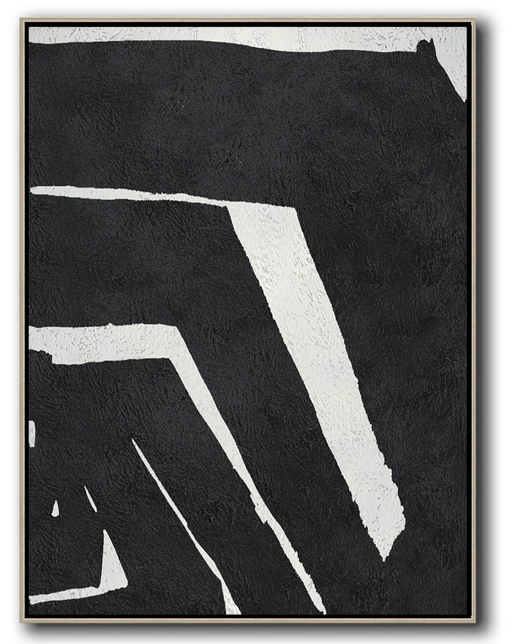 Acrylic Painting On Canvas,Black And White Minimal Painting On Canvas,Acrylic Painting Wall Art #E3G3