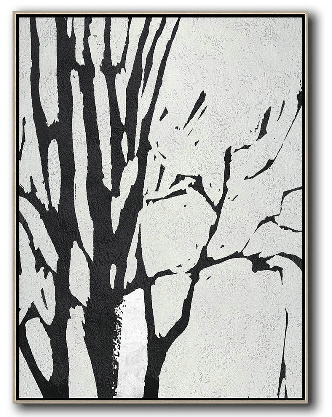 Abstract Art On Canvas, Modern Art,Black And White Minimalist Painting On Canvas,Home Decor Canvas #L9D5