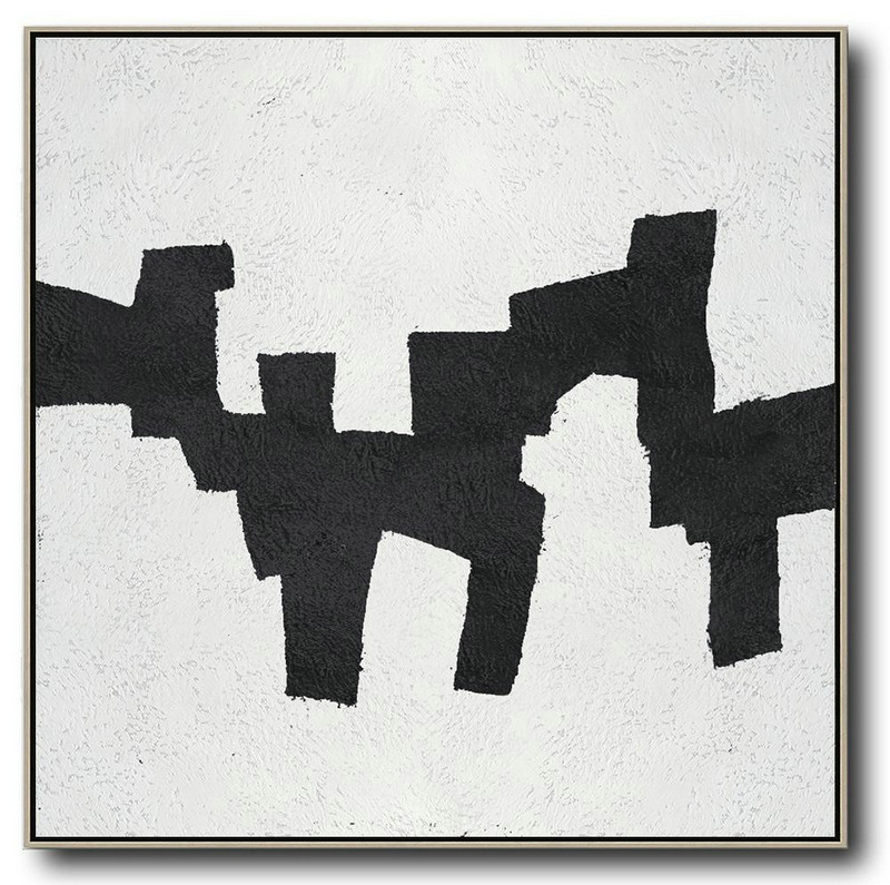 Large Abstract Art Handmade Oil Painting,Oversized Minimal Black And White Painting,Contemporary Artwork #W5M2
