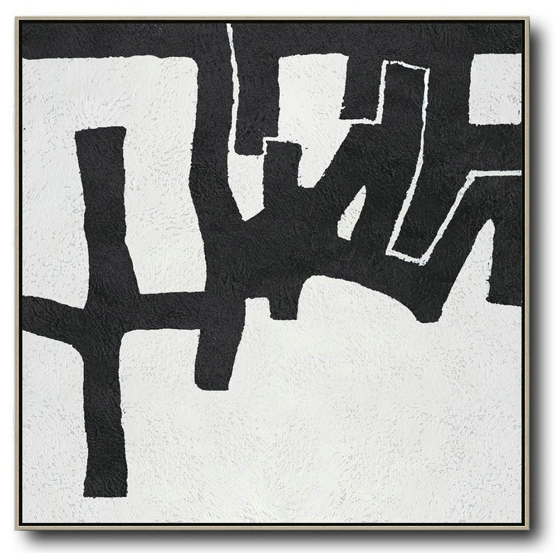 Original Extra Large Wall Art,Oversized Minimal Black And White Painting,Contemporary Abstract Painting #J2E6