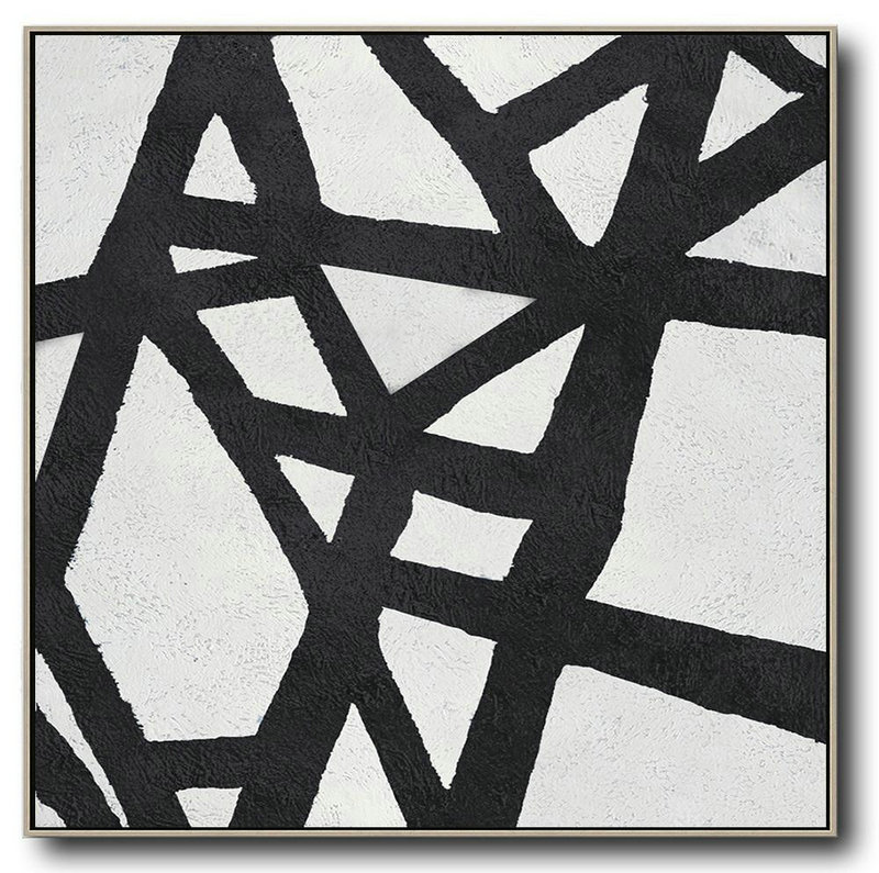Abstract Painting Extra Large Canvas Art,Oversized Minimal Black And White Painting,Abstract Painting For Home #E7X2