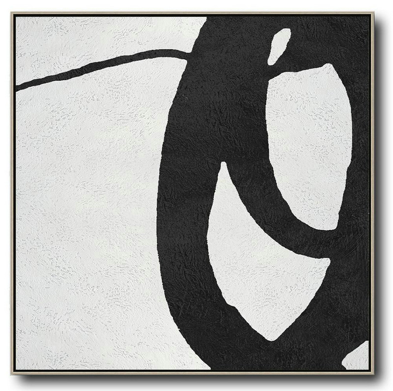 Original Abstract Painting Extra Large Canvas Art,Oversized Minimal Black And White Painting,Huge Abstract Canvas Art #S2K7