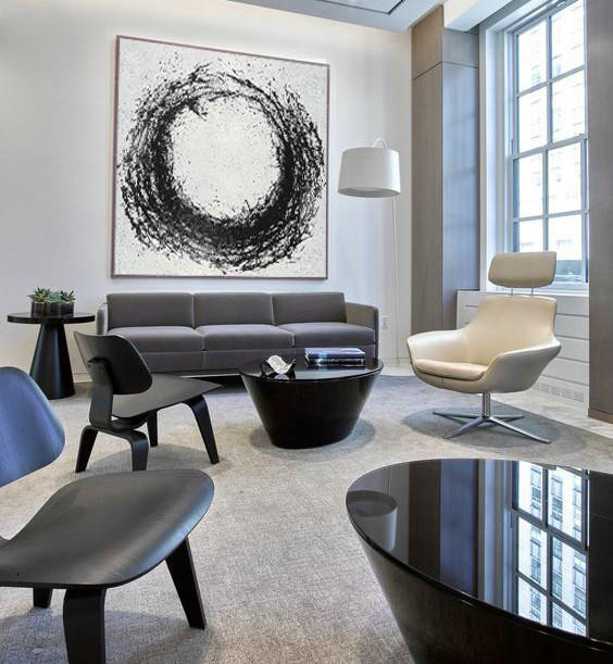 Extra Large Textured Painting On Canvas,Oversized Minimal Black And White Painting,Big Canvas Painting #F9P1