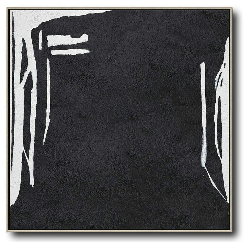 Hand Painted Extra Large Abstract Painting,Oversized Minimal Black And White Painting,Hand-Painted Canvas Art #Z7V6