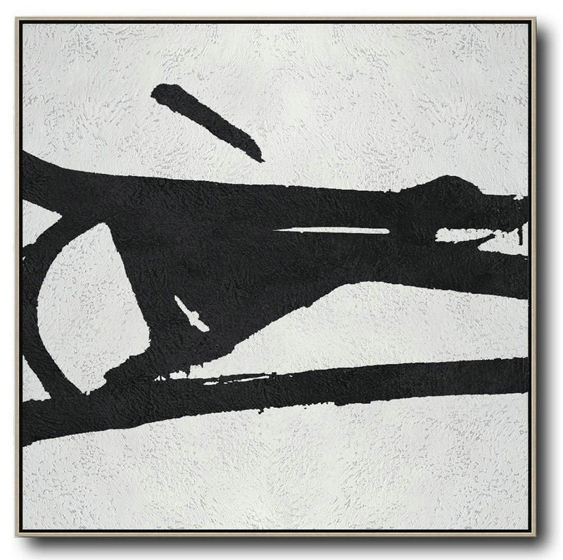 Abstract Painting Extra Large Canvas Art,Oversized Minimal Black And White Painting,Huge Abstract Canvas Art #Y5Y1