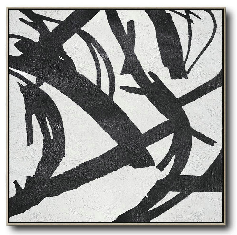 Abstract Painting Extra Large Canvas Art,Oversized Minimal Black And White Painting,Unique Canvas Art #K8L8