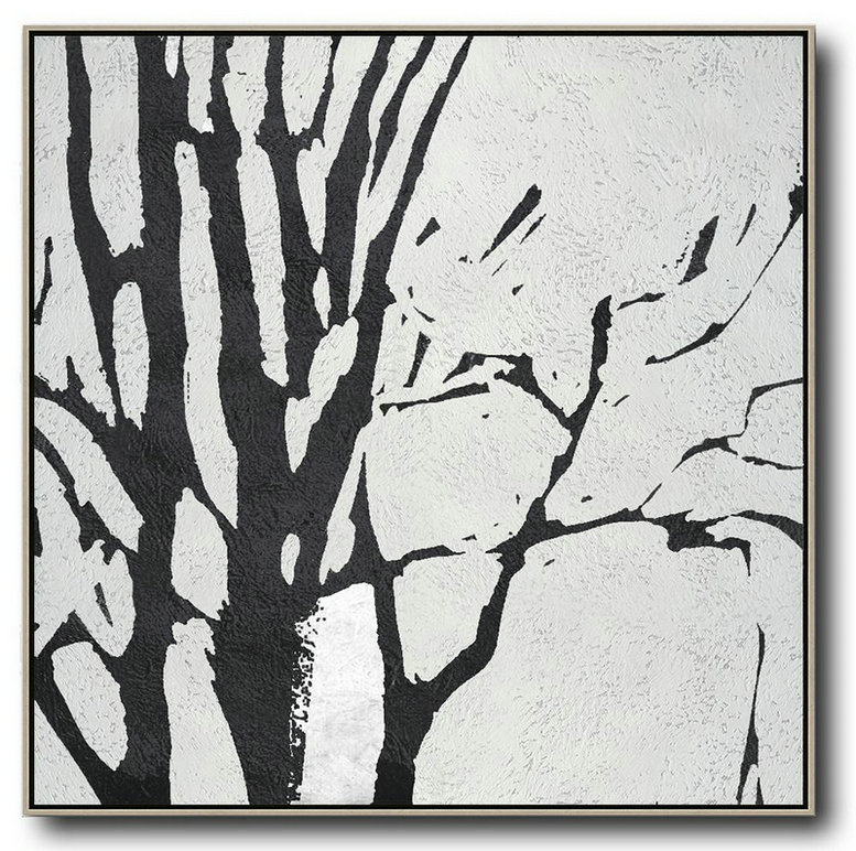 Custom Canvas Wall Art,Oversized Minimal Black And White Painting,Abstract Paintings On Sale #E7L4