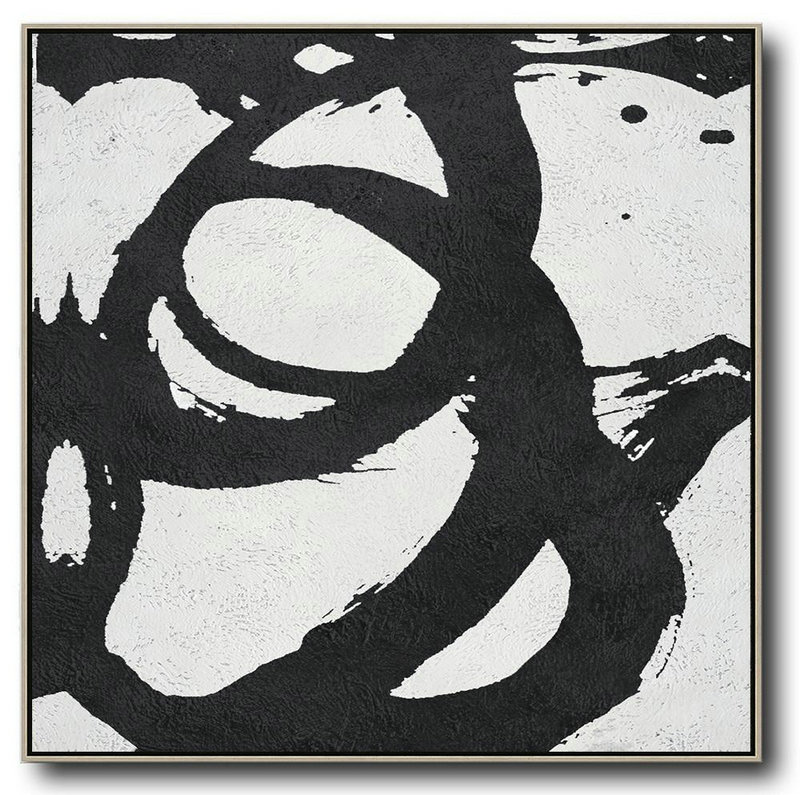 Abstract Painting Extra Large Canvas Art,Oversized Minimal Black And White Painting,Textured Painting Canvas Art #C9N4