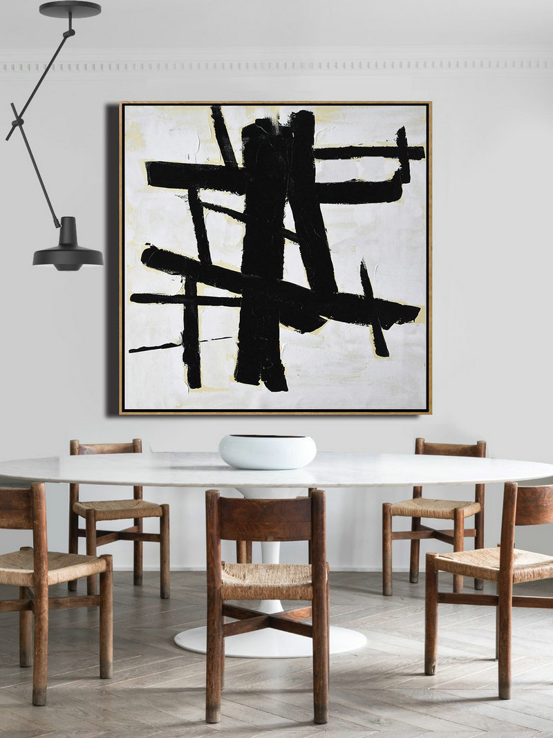 Abstract Painting Extra Large Canvas Art,Handmade Minimal Art Palette Knife Canvas Painting, Black White Beige,Contemporary Canvas Paintings #X8P6