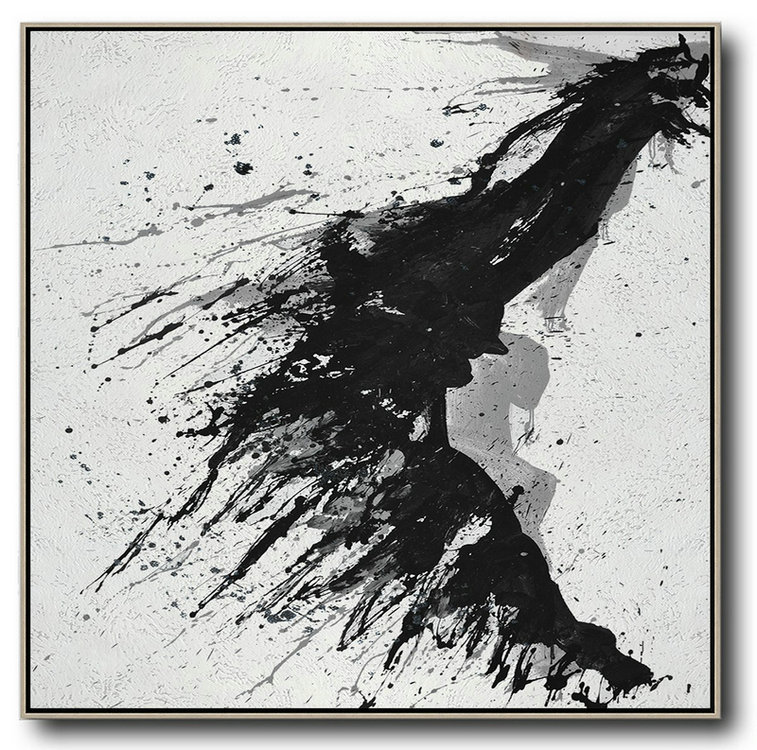 Extra Large Acrylic Painting On Canvas,Minimalist Drip Painting On Canvas, Black, White, Grey,Modern Art #E5P5