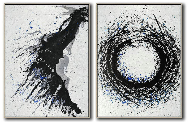 Handmade Large Contemporary Art,Set Of 2 Minimal Painting On Canvas,Canvas Wall Art #X9M5