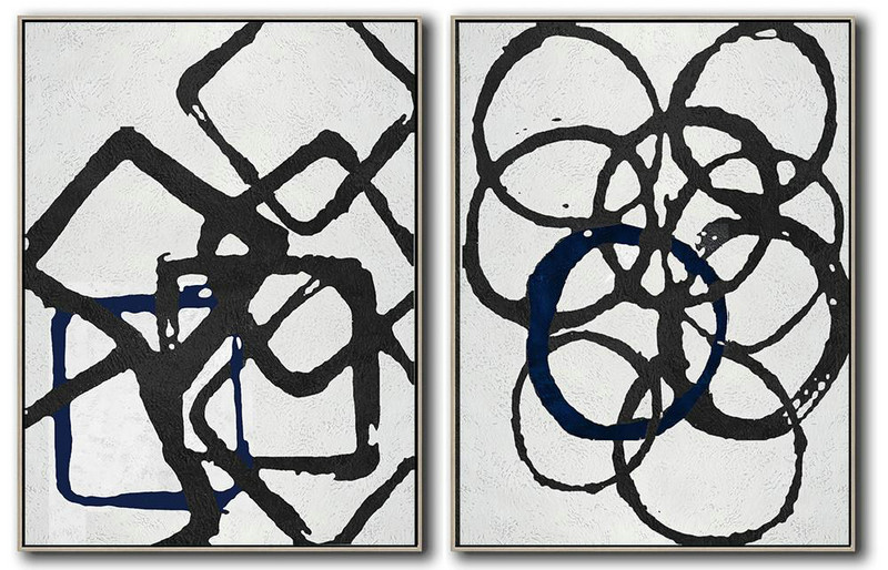 Large Modern Abstract Painting,Set Of 2 Minimal Painting On Canvas,Large Abstract Wall Art #Q1P9