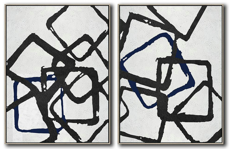 Hand Made Abstract Art,Set Of 2 Minimal Painting On Canvas,Large Wall Art Canvas #S4P6
