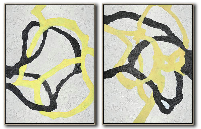 Original Painting Hand Made Large Abstract Art,Set Of 2 Minimal Painting On Canvas,Art Work #C1N8