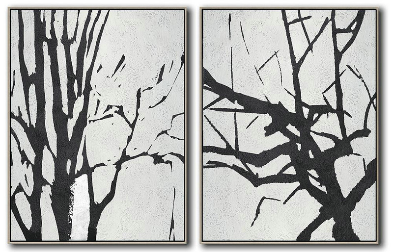 Handmade Large Contemporary Art,Set Of 2 Minimal Painting On Canvas,Colorful Wall Art #J2T2