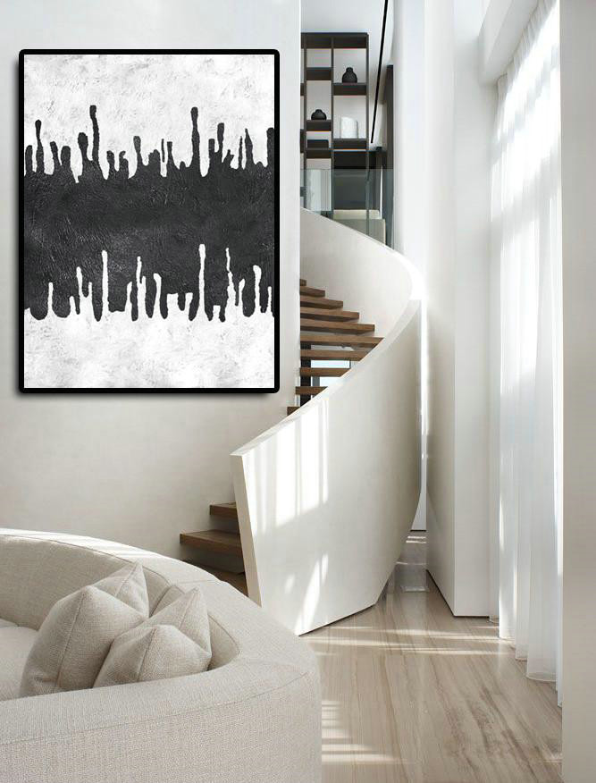 Extra Large Acrylic Painting On Canvas,Black And White Minimal Painting On Canvas,Large Canvas Wall Art For Sale #N9K3
