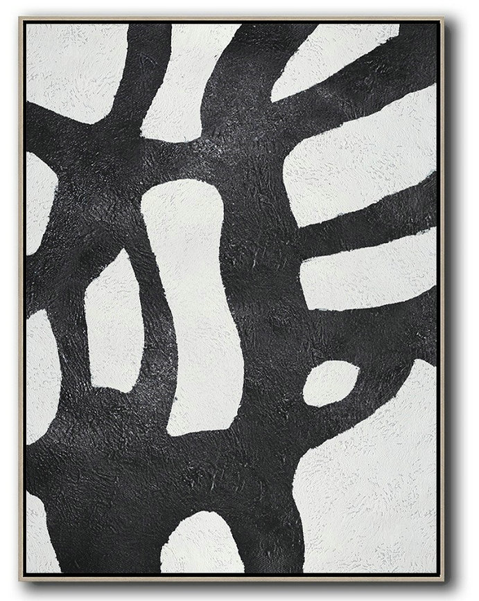 Large Abstract Painting Canvas Art,Black And White Minimal Painting On Canvas,Huge Canvas Art On Canvas #I1C2