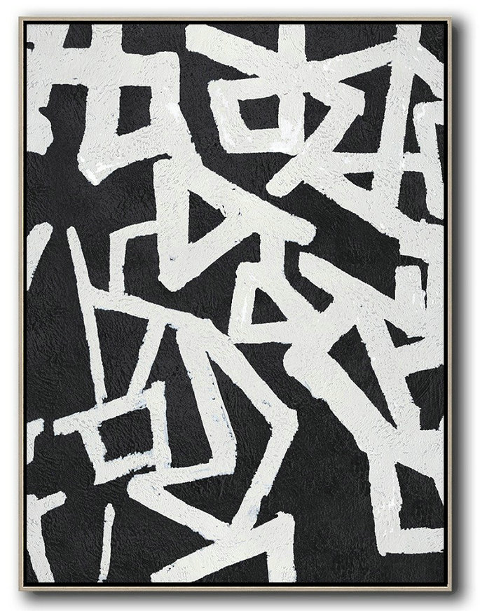 Large Abstract Art,Black And White Minimal Painting On Canvas,Custom Canvas Wall Art #E8I2