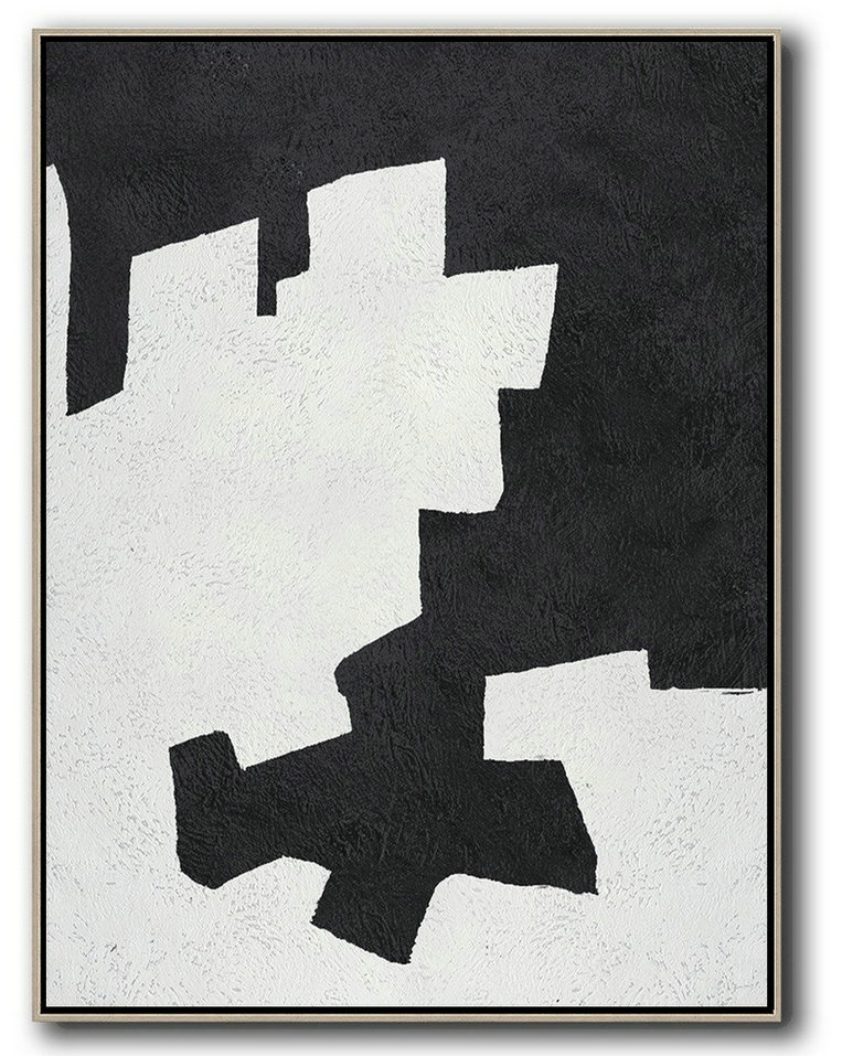 Extra Large Abstract Painting On Canvas,Black And White Minimal Painting On Canvas,Large Contemporary Painting #M3M5