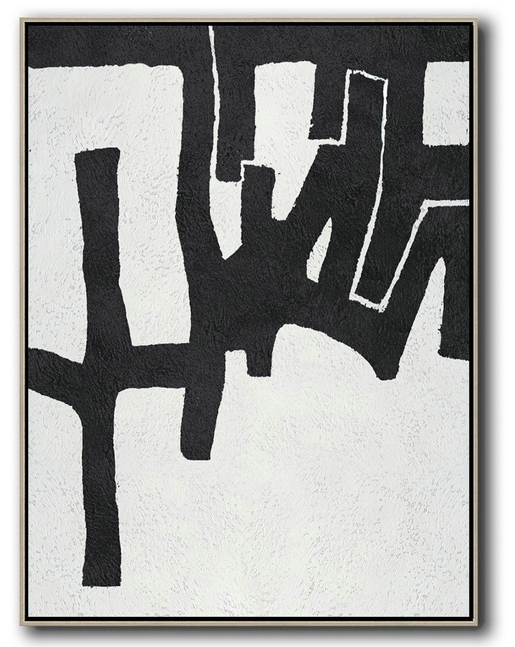 Handmade Large Painting,Black And White Minimal Painting On Canvas,Living Room Wall Art #U2E1