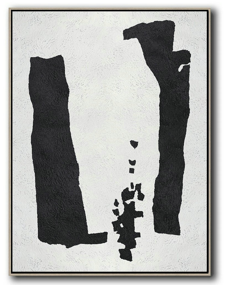 Extra Large Textured Painting On Canvas,Black And White Minimal Painting On Canvas,Modern Abstract Wall Art #Y4L4