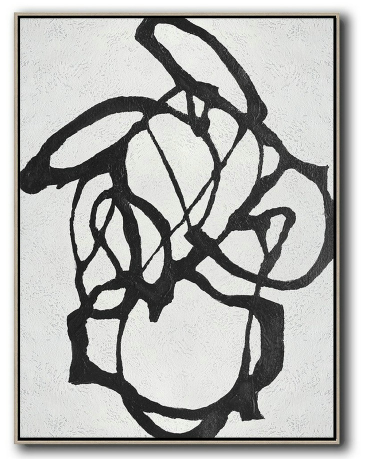 Large Abstract Painting,Black And White Minimal Painting On Canvas,Giant Canvas Wall Art #D1V7