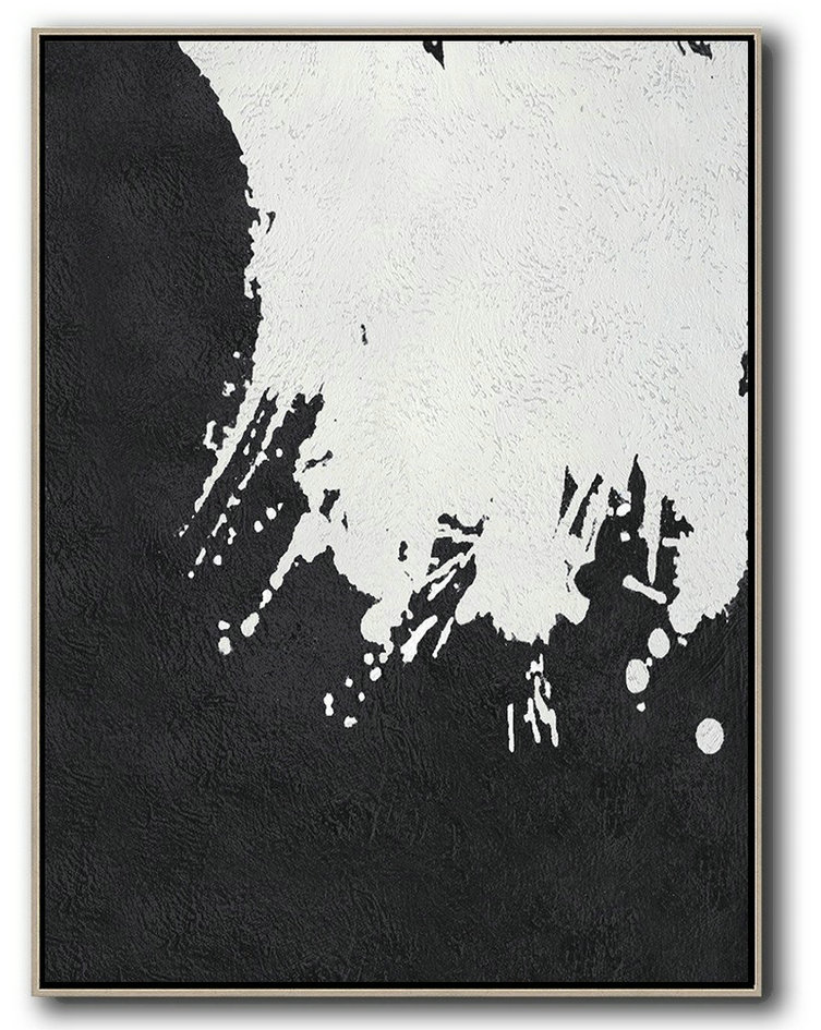 Original Painting Hand Made Large Abstract Art,Black And White Minimal Painting On Canvas,Abstract Painting Modern Art #D1F2