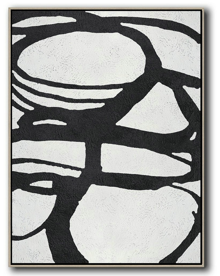 Abstract Painting Modern Art,Black And White Minimal Painting On Canvas,Abstract Art On Canvas, Modern Art #A3Q6