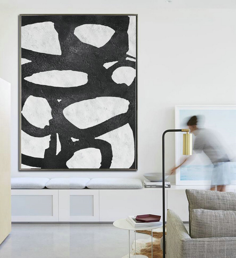 Abstract Painting Extra Large Canvas Art,Black And White Minimal Painting On Canvas,Acrylic Minimailist Painting #X9E3