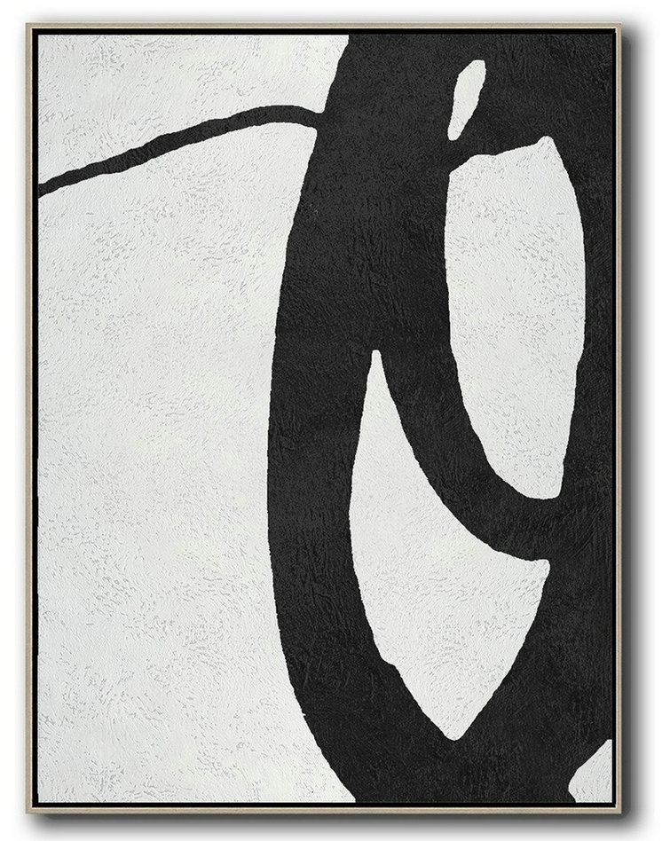 Large Contemporary Art Acrylic Painting,Black And White Minimal Painting On Canvas,Original Art Acrylic Painting #F0W6