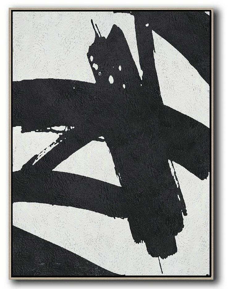 Big Living Room Decor,Black And White Minimal Painting On Canvas,Modern Art #O0Y7