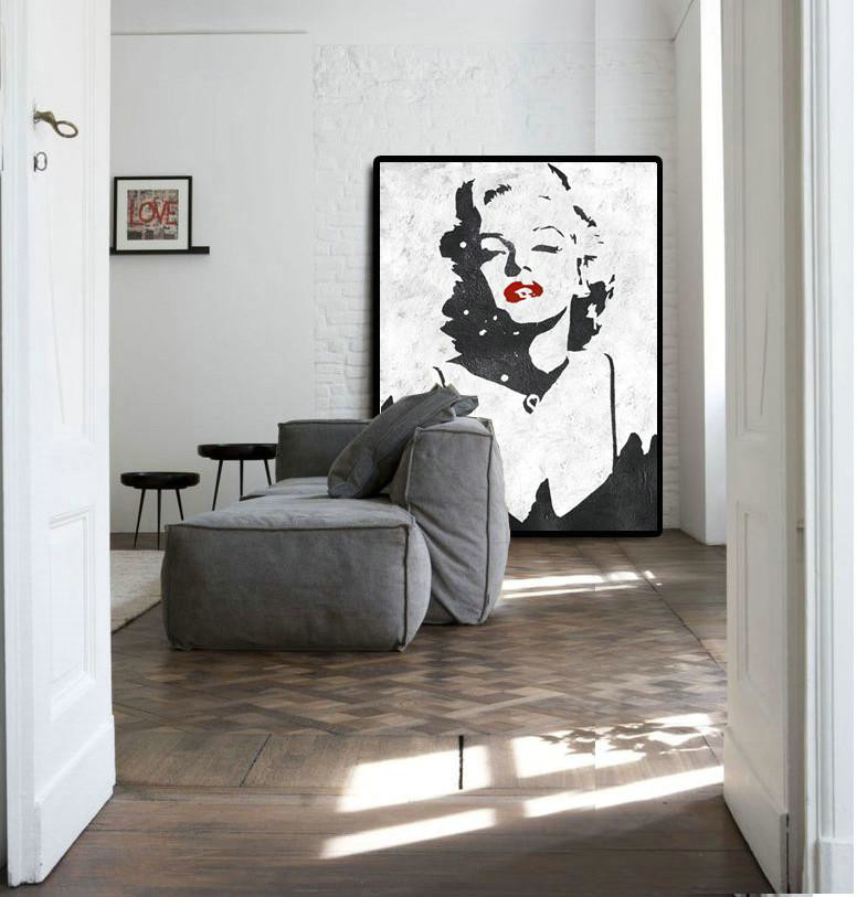 Extra Large Acrylic Painting On Canvas,Black And White Minimal Painting On Canvas,Original Abstract Art Paintings #P5O9