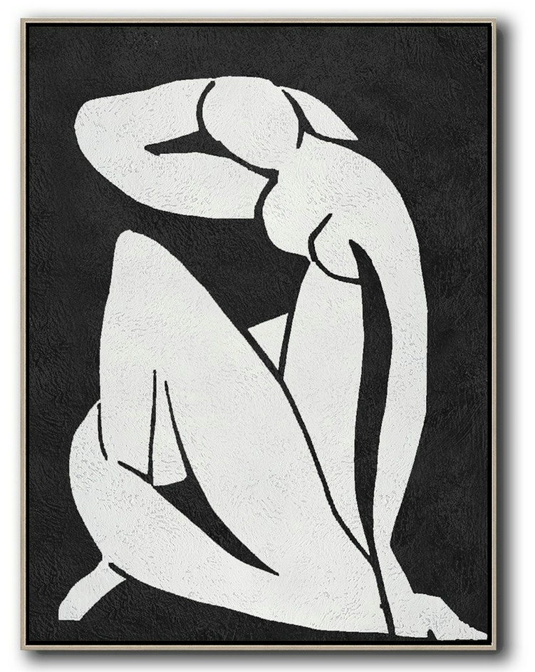 Original Extra Large Wall Art,Black And White Minimal Painting On Canvas,Lounge Wall Decor #Y8V7