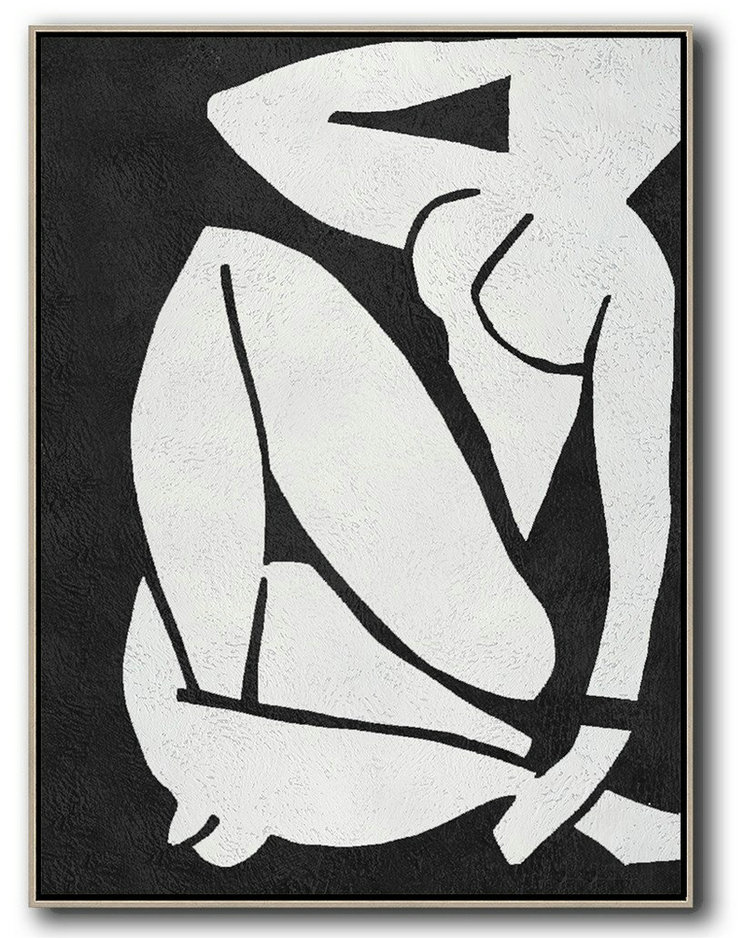 Handmade Large Contemporary Art,Black And White Minimal Painting On Canvas,Pretty Abstract Paintings #W3P7