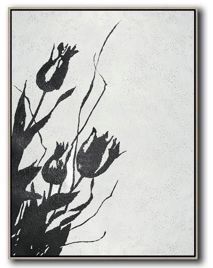 Contemporary Abstract Painting,Black And White Minimal Painting On Canvas,Large Canvas Art #E7L6